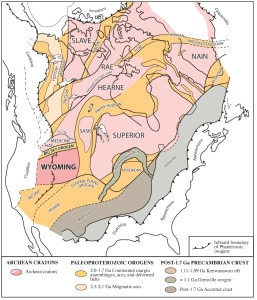 Figure 1: Ancient cratons (pink) and intervening 2.0-1.7 Ga orogenic belts (gold) of ancestral North America, including the Wyoming province and the Big Sky orogeny.  Adapted from Hoffman(1988) and Bleeker & Hall (2007).