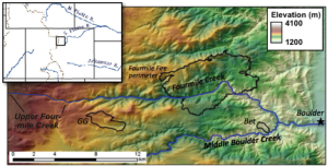 Fig. 1. Shaded relief and slope map of Fourmile Creek area. Steepest slopes shaded red; shallowest slopes are blue. Study catchments include Fourmile Creek, the Green Lakes Valley, Gordon Gulch (GG) and Betasso (Bet).
