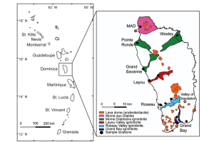 Figure 1. Dominica is located in the central portion of the Lesser Antilles volcanic arc (map from Lindsay et al., 2005a). The geologic map of Dominica shows <1 Ma lava dome and ignimbrite deposits (modified from Smith and Roobol, 2013).