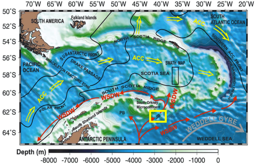 Figure 1. Modern bathymetric and oceanographic features of the northeastern Weddell and Scotia Seas. Solid red arrows show Weddell Sea Deep Water (WSDW), dense water above 4000m and Weddell Sea Bottom Water (WSBW), dense water deeper than 4000 m, exiting the Weddell Sea, joining Antarctic Circumpolar Current (ACC) and forming Antarctic Bottom Water (AABW). Yellow box (JB = Jane Basin) shows location of transect of ODP cores, PB = Powell Basin. (from Maldonado et al., 2003).