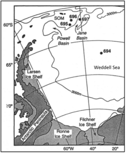 Figure 4A. Location of three ODP sites to be studied, Sites 695, 696 and 697. SOM=South Orkney Microcontinent.