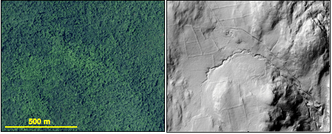 Figure 3: An aerial image shows a forested landscape while a hillshaded DEM derived from LiDAR data for the same area reveals polygons of stone wall lined fields, an old road, circular charcoal hearth platforms (lower right), an old foundation, and gully erosion. Data sources: CTECO (imagery) and USDA NRCS (LiDAR).